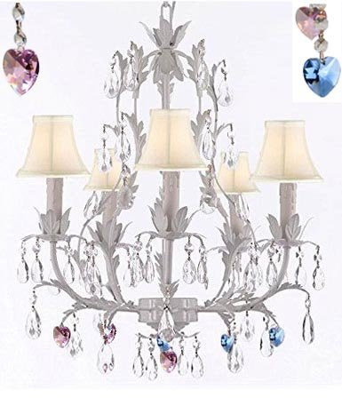White Wrought Iron Floral Chandelier Lighting W/ Blue And Pink Hearts And Shades - J10-Sc/Whiteshade/B85/B21/White/26016/5