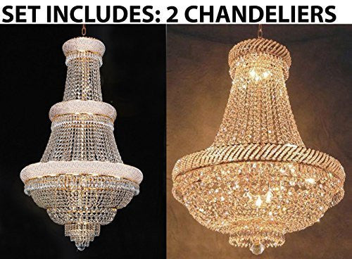 Set Of 2 - 1 For Entryway/Foyer And 1 For Dining Room French Empire Empress Crystal (Tm) Chandeliers Chandelier Lighting - 1Ea Cg/448/21 + 1Ea Cg/448/9