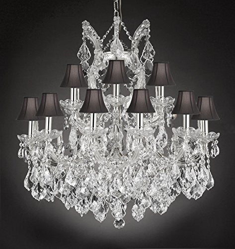 "Maria Theresa Empress Crystal(Tm) Chandelier Lighting With Black Shades H 28"" W 30"" - Cjd-Cs/Sc/2181/30"