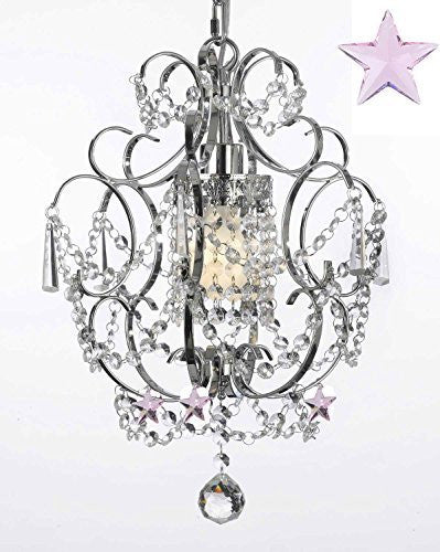 "Chrome Crystal Chandelier Lighting With Pink Crystal Stars H 15"" W 11.5"" - J10-B38/26019/1"