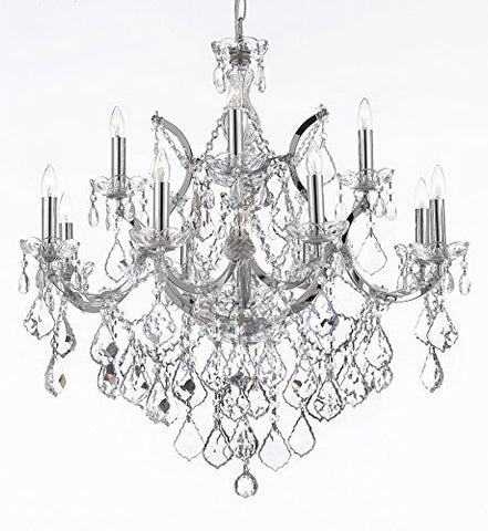 "Maria Theresa Chandelier Lighting Crystal Chandeliers H30 ""X W28"" Chrome Finish - F83-B7/Chrome/2527/12+1"