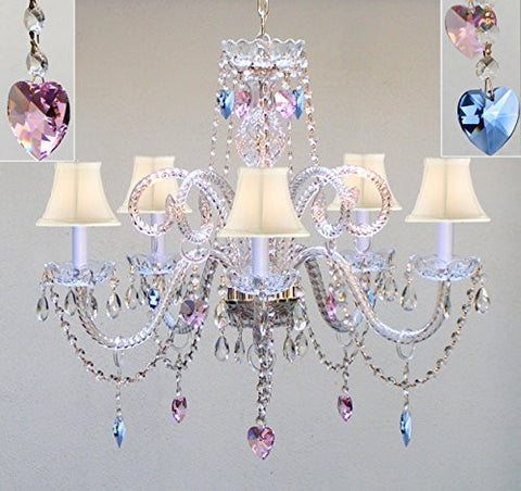 "Authentic All Crystal Chandelier Chandeliers Lighting With Sapphire Blue & Pink Crystal Hearts & White Shades Perfect For Living Room Dining Room Kitchen Kid'S Bedroom H25"" W24"" - A46-B85/B21/Whiteshades/387/5"