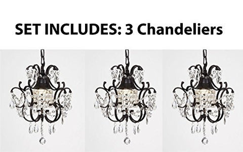 "Chandeliers Wrought Iron Crystal Chandelier Island Pendant Lighting H14"" W11"" **Set Of 3*** - J10-26030/1-Set Of 3"
