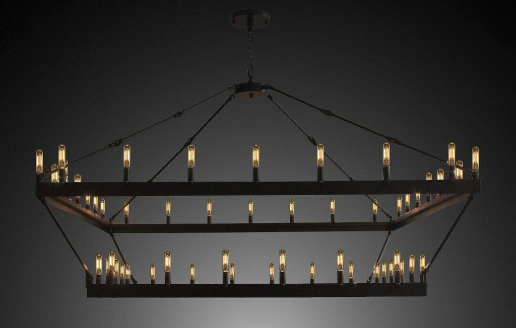 "Wrought Iron Vintage Barn Metal Camino Two Tier Square Chandelier Chandeliers Industrial Loft Rustic Lighting W 63"" H 60"" - G7-3428/52"