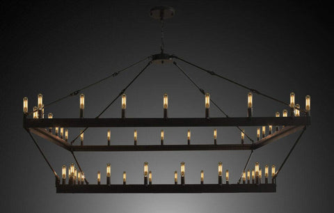 "Wrought Iron Vintage Barn Metal Castile Two Tier Square Chandelier Chandeliers Industrial Loft Rustic Lighting W 63"" H 60"" - G7-3428/52"