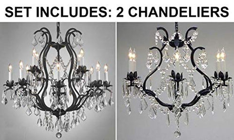 "Set of 2-1 Wrought Iron Crystal Chandelier Lighting Chandeliers H30 x W28 and 1 Wrought Iron Cyrstal Chandelier Lighting H 19"" W 20"" - Great for Bedroom, Kitchen, Dining Room, Living Room, and More! - 1EA 3034/8+4 + 1EA 3530/6"