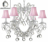 "Swarovski Crystal Trimmed Chandelier White Wrought Iron Crystal Chandelier Lighting H 19"" W 20"" Dressed With Feng Shui 40Mm Crystal Balls And Pink Shades - A83-Pinkshadesb6/White/3530/6 Sw"