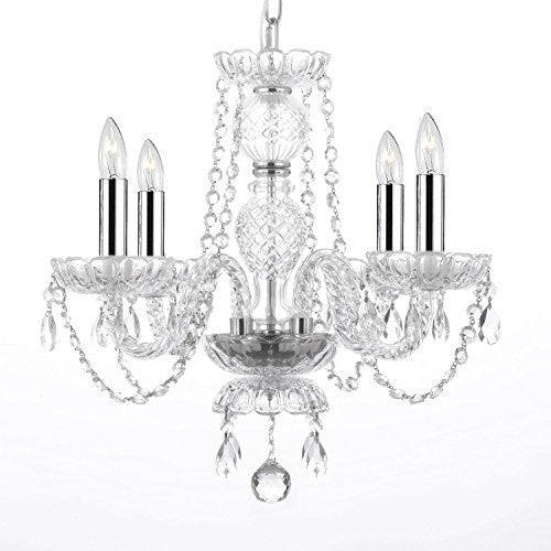 "Empress Crystal (Tm) Chandelier Lighting With Chrome Sleeves H17"" W17"" Swag Plug In-Chandelier W/ 14' Feet Of Hanging Chain And Wire - G46-B15/B43/275/4"