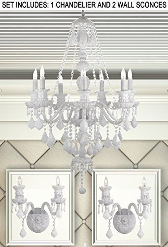 Three Piece Lighting Set - Snow White Crystal Chandelier And 2 Wall Sconces - 1Ea White/Sm490/7 + 2Ea White/2/490