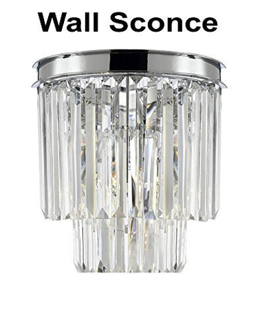 Palladium Empress Crystal (Tm) Glass Fringe 2-Tier Wall Sconce Lighting Chrome Finish - G7-3/2164/Wallsconce