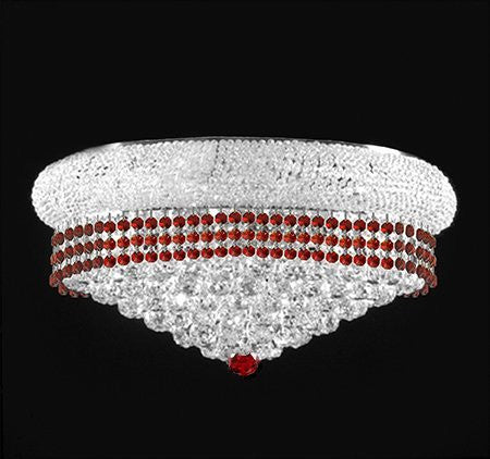 "Flush French Empire Crystal Chandelier Lighting Trimmed With Ruby Red Crystal Good For Dining Room Foyer Entryway Family Room And More H15"" X W24"" - F93-Silver/Flush/B74/542/15"