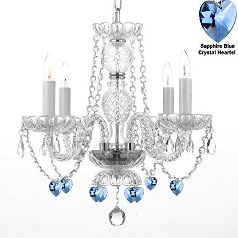 "Authentic All Crystal Chandelier Chandeliers Lighting With Sapphire Blue Crystal Hearts Perfect For Living Room Dining Room Kitchen Kid'S Bedroom H17"" W17"" - G46-B85/275/4"