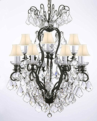 Wrought Iron Crystal Chandelier Lighting With White Shades - F83-Whiteshades/556/12