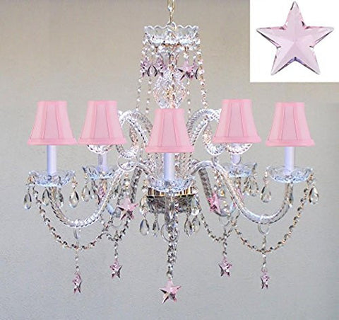 "Swarovski Crystal Trimmed Chandelier! Empress Crystal(Tm) Chandelier Lighting With Pink Crystal Stars H25"" X W24"" - Nursery, Kids, Girls Bedrooms, Kitchen, Etc! - Go-A46-Pinkshades/B38/387/5/Pink Sw"
