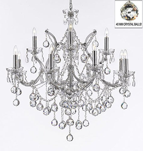 "Maria Theresa Chandelier Lighting Empress Crystal (Tm) Chandeliers H 30"" X W 28"" Chrome Finish Dressed With Crystal Balls - F83-B6/Chrome/2527/12+1"