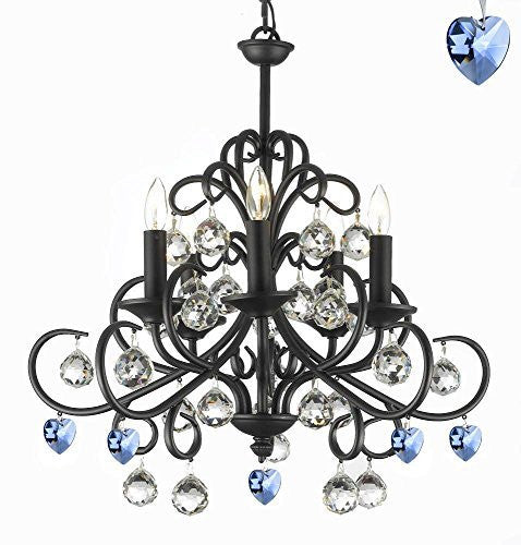 "Bellora Crystal Wrought Iron Chandelier Chandeliers Lighting Empress Crystal (Tm) With Faceted Crystal Balls And Blue Hearts! H 22"" W 20"" - A7-B85/586/5"