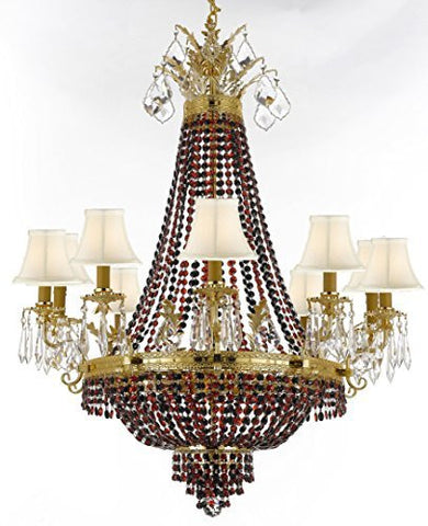 "French Empire Crystal Chandelier Chandeliers H32"" W25"" - Dressed With Jet Black & Ruby Red Crystals & White Shades Perfect For Dining Room / Entryway / Foyer / Living Room - F93-B81/B80/Whiteshade/1280/8+4"