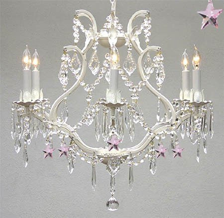 Wrought Iron & Crystal Chandelier Authentic Empress Crystal(Tm) Chandelier With Pink Stars Nursery Kids Girls Bedrooms Kitchen Etc. - A83-White/B38/3530/6