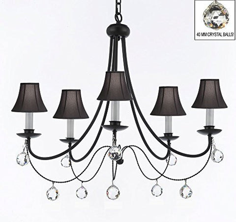 "Empress Crystal (Tm) Wrought Iron Chandelier Lighting H.22.5"" X W.26"" With Black Shades And Crystal Balls Swag Plug In-Chandelier W/ 14' Feet Of Hanging Chain And Wire - J10-B16/Sc/Blackshades/B6/26031/5"