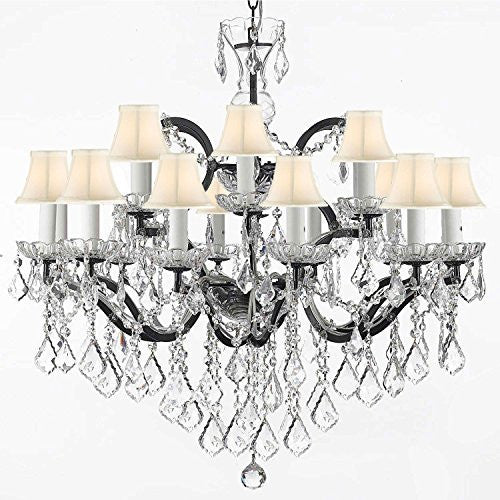"Nineteenth C. Rococo Iron & Empress Crystal (Tm) Chandelier Lighting H 28"" X W 30"" With Shades - G83-Sc/Whiteshades/995/18"