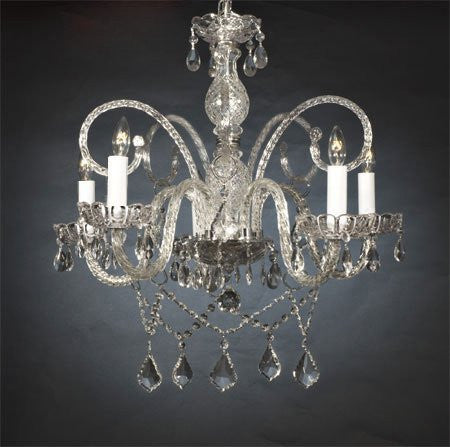 "Swarovski Crystal Trimmed Chandelier New Authentic All Crystal Chandelier W/ Swarovski Crystal Chandeliers H25"" X W24"" - A46-386/5Sw"