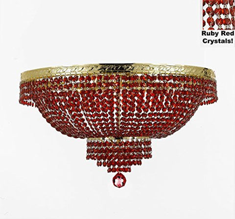 "French Empire Semi Flush Crystal Chandelier Lighting - Dressed With Red Beads Color Crystals H21"" X W30"" - F93-B81/Flush/Cg/870/14"