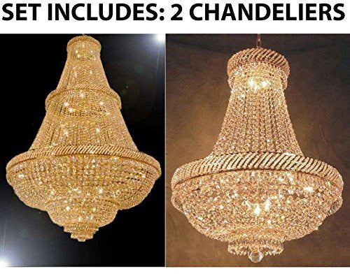 Set Of 2 - 1 For Entryway/Foyer And 1 For Dining Room! French Empire Empress Crystal (Tm) Chandeliers Chandelier Lighting - 1Ea Cg/448/48 + 1Ea Cg/448/9