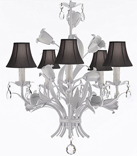 "White Wrought Iron Floral Chandelier Empress Crystal(Tm) Flower Chandeliers Lighting H23"" X W19"" With Shades - J10-Sc/Blackshades/B39/White/325/5"