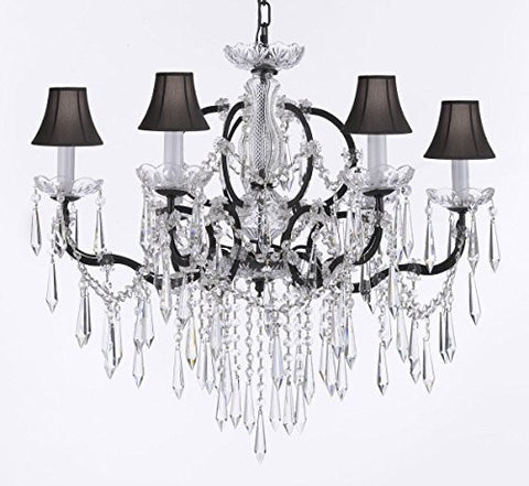"Nineteenth C. Rococo Iron & Empress Crystal (Tm) Chandelier Lighting Crystal Icicles H 25"" X W 26"" With Black Shades - G83-Blackshades/B27/994/6"