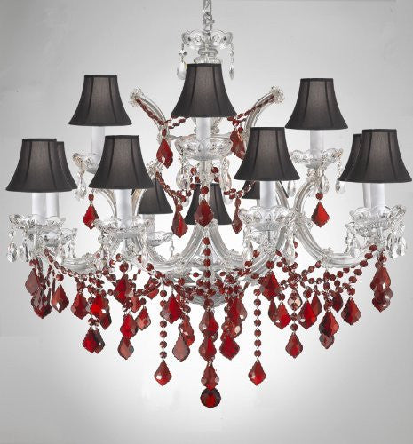 "Chandelier Crystal Lighting H30"" X W28"" W/ Ruby Red Crystal & Black Shades - A83-B2/Sc/Silver/21532/12+1"