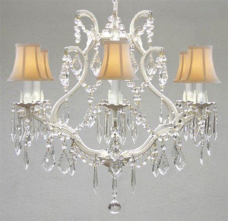 "Swarovski Crystal Trimmed Chandelier Wrought Iron Crystal Chandelier Lighting H 19"" W 20"" - With White Shades - A83-Whiteshades/White/3530/6 Sw"