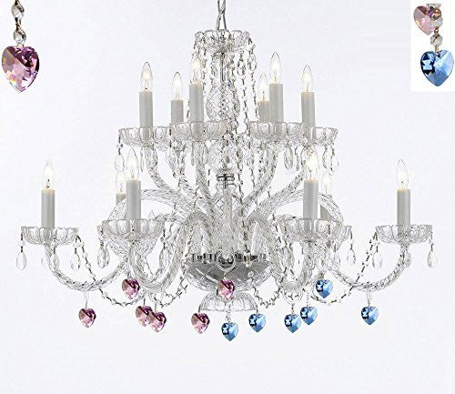 Murano Venetian Style All Empress Crystal (Tm) Chandelier With Blue And Pink Crystal - A46-B85/B21/385/6+6
