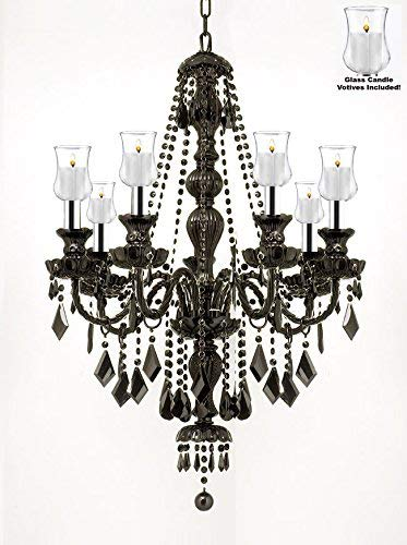 "Crystal Chandelier Lighting W/Candle Votives w/Chrome Sleeves! H30"" W26"" - For Indoor/Outdoor Use! Great for Outdoor Events, Hang from Trees/Gazebo / Pergola/Porch / Patio/Tent ! - G46-B43/B31/BLACK/SM/26073/7"