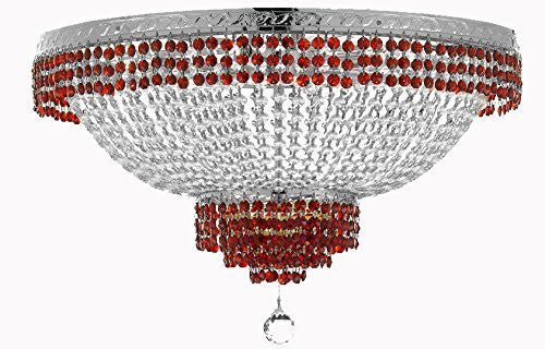 "Flush French Empire Crystal Chandelier Lighting Trimmed With Ruby Red Crystal Good For Dining Room Foyer Entryway Family Room And More H21"" W30"" - F93-B74/Cs/Flush/870/14"