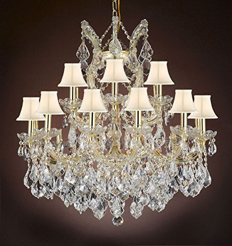 "Maria Theresa Empress Crystal(Tm) Chandelier Lighting With White Shades H 28"" W 30"" - Cjd-Cg/Sc/2181/30"