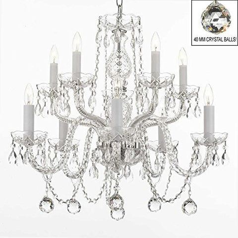 Swarovski Crystal Trimmed Chandelier! All Crystal Chandelier With 40Mm Crystal Balls! Swag Plug In-Chandelier W/ 14' Feet Of Hanging Chain And Wire! - A46-B15/B6/Cs/1122/5+5 Sw