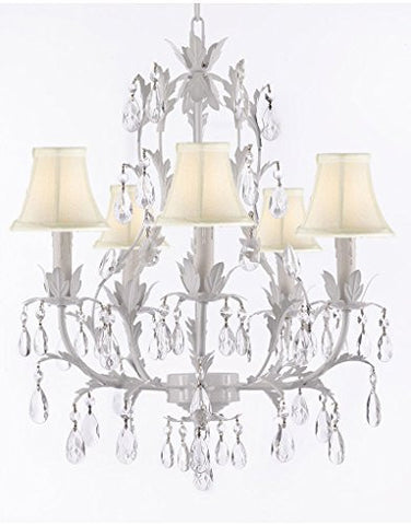 White Wrought Iron Floral Chandelier Lighting Crystal Chandeliers With Shades - J10-Sc/Whiteshade/White/26016/5