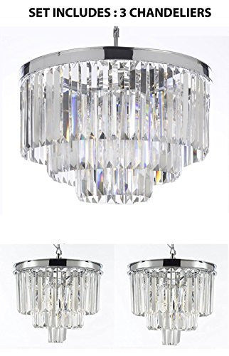 "Set Of 3 Chandeliers: 1 Odeon Crystal Glass Fringe 3-Tier Chandelier H 21.50"" W 19.75"" + 2 Odeon Crystal Glass Fringe 3-Tier Chandeliers H 15"" W 12"" - Chandeliers Lighting Chrome Finish - 1Ea 2164/9+2Ea 2164/3"