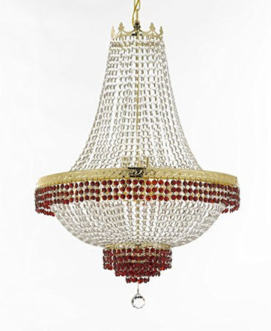 "French Empire Crystal Chandelier Chandeliers Lighting Trimmed With Ruby Red Crystal Good For Dining Room Foyer Entryway Family Room And More H30"" X W24"" - F93-B75/Cg/870/9"