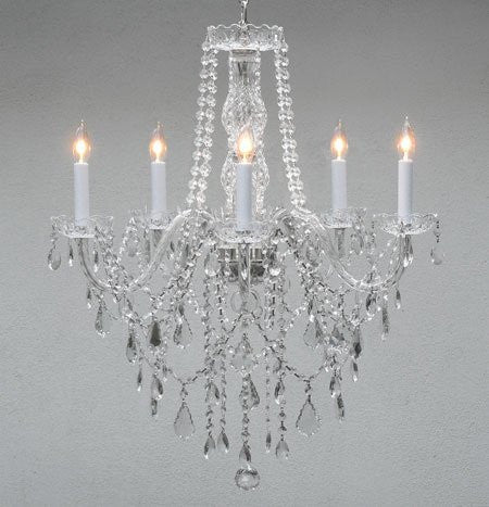 "Authentic All Crystal Chandelier Lighting H30"" X W24"" - G46-3/384/5"