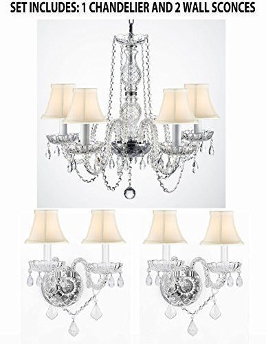 Three Piece Lighting Set - New! Authentic All Crystal Murano Venetian Style Empress Crystal Chandelier And 2 Wall Sconces With White Shades - 1EA SC/384/5 + 2EA 2/386Whiteshades
