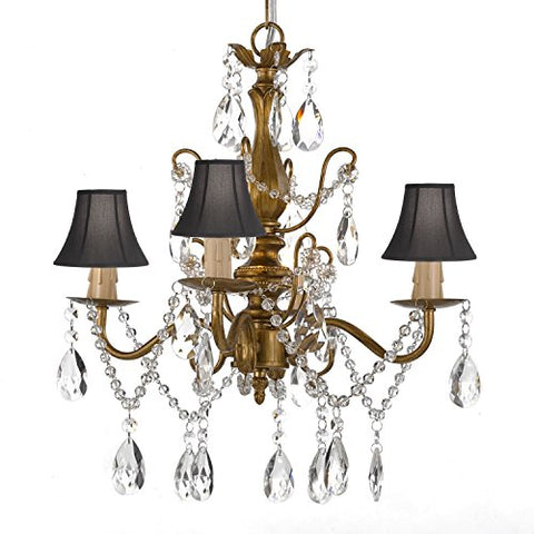 "Wrought Iron and Crystal 4 Light Gold Chandelier H 14"" X W 15"" Pendant Fixture Lighting Hardwire and Plug In with Shades - J10-SCL1490CG black shades"