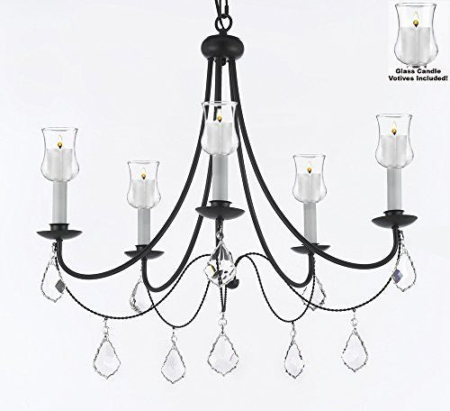 "Crystal Chandelier W/ Candle Votives H22.5"" W26"" - For Indoor / Outdoor Use Great For Outdoor Events Hang From Trees / Gazebo / Pergola / Porch / Patio / Tent - J10-B31/B7/26031/5"