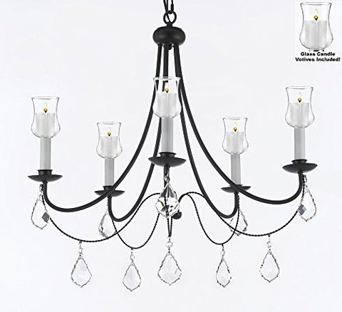 "Crystal Chandelier W/ Candle Votives H22.5"" W26"" - For Indoor / Outdoor Use Great For Outdoor Events Hang From Trees / Gazebo / Pergola / Porch / Patio / Tent - A7-B31/B7/403/5"