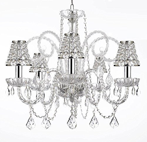 "Empress Crystal (Tm) Chandelier Lighting With Chrome Sleeves And Crystal Shades H25"" X W24""Swag Plug In-Chandelier W/ 14' Feet Of Hanging Chain And Wire - A46-B15/B32/B43/385/5"