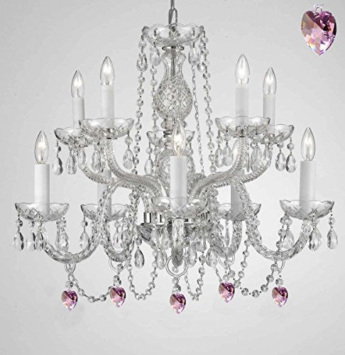 Empress Crystal (Tm) Chandelier Lighting With Pink Color Crystal Swag Plug In-Chandelier W/ 14' Feet Of Hanging Chain And Wire - G46-B15/B21/1122/5+5