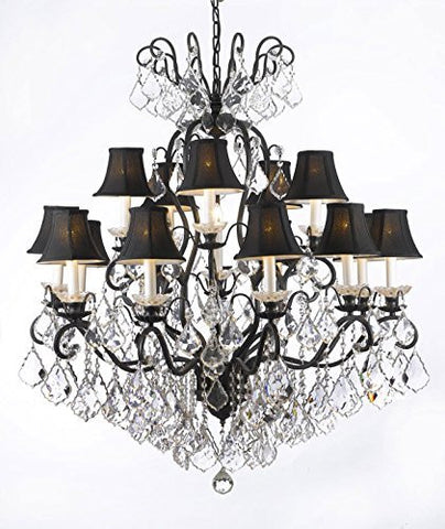"Swarovski Crystal Trimmed Chandelier Wrought Iron Crystal Chandelier Lighting With Black Shades W38"" H44"" - F83-Blackshades/556/16 Sw"