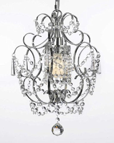 "Chrome Crystal Chandelier Lighting H 15"" W 11.5"" Swag Plug In-Chandelier W/ 14' Feet Of Hanging Chain And Wire! - G7-B15/1125/1"