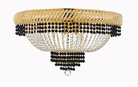 "Flush French Empire Crystal Chandelier Lighting Trimmed With Jet Black Crystal Good For Dining Room Foyer Entryway Family Room And More H18"" X W27"" - F93-B79/Cg/Flush/448/12"