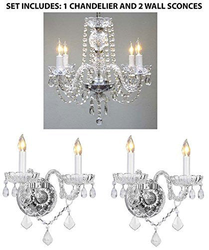 Three Piece Lighting Set - Crystal Chandelier And 2 Wall Sconces - 1Ea 275/4 + 2Ea B12/2/386